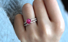 Round Cut Pink Sapphire Bridal Wedding Ring Set 14k White Gold Plated 925 Silver - $92.54