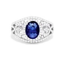 EFFY Jewelry Wedding Ring Oval Shape Blue Sapphire White Gold Plated 925 Silver - $68.99