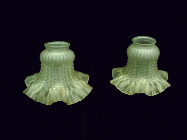 Vntge Frosted Textured Glass Deep Ruffle Lamp Shades
