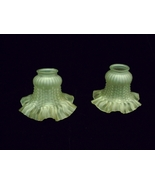 Vntge Frosted Textured Glass Deep Ruffle Lamp Shades - $10.00