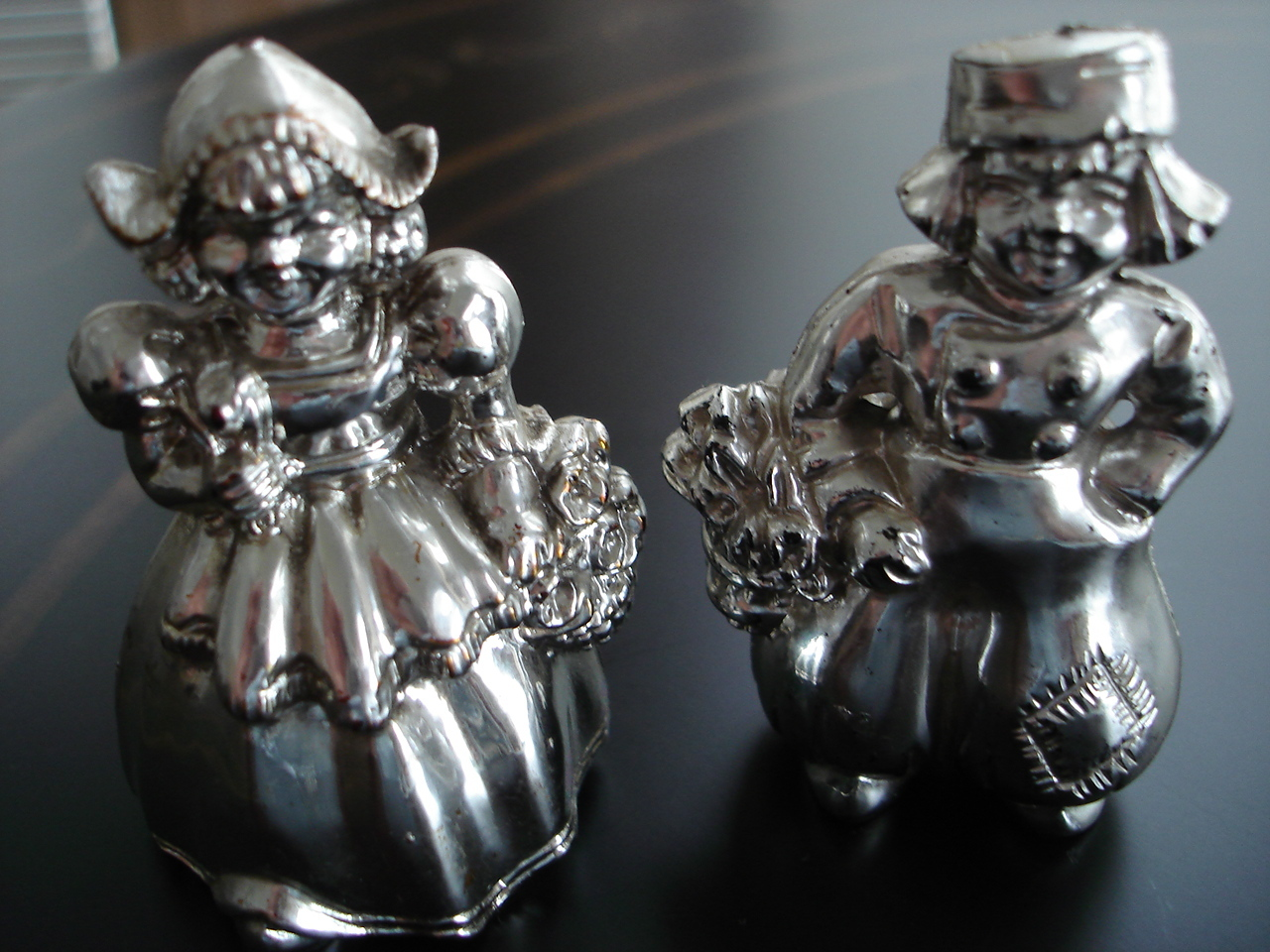 Vintage Hollow Plastic Dutch Boy & Girl Salt, Pepper Shakers Silver Color Finish