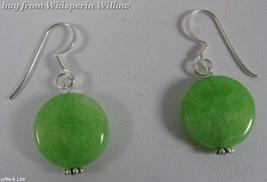 Dyed Green Jade French Wire Earrings - $12.50