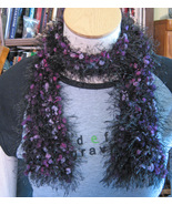 Hand Knit Short Scarf/Furry w/TIny Ponpoms in Purples/100% Acrylic/No Wool! - $12.00