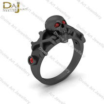 Red Diamond Skull Engagement Ring Dark Vampire Queen Inspired Skull Ring... - €131,73 EUR+