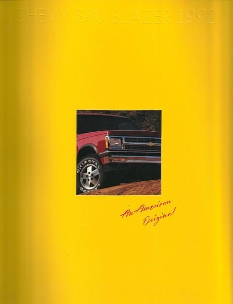 1992 Chevrolet S-10 BLAZER sales brochure catalog US 92 Chevy Tahoe
