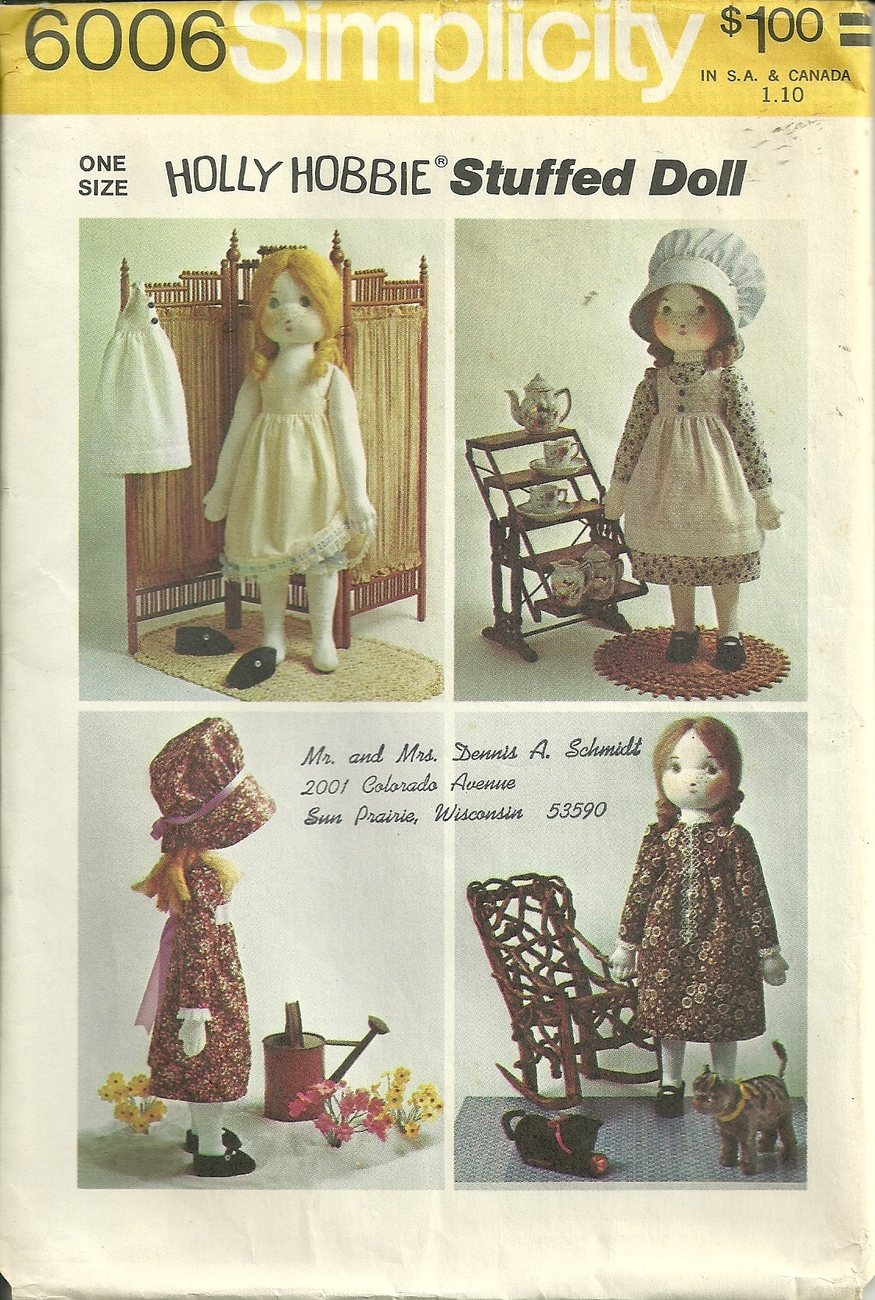 Primary image for Simplicity Holly Hobbie Stuffed Doll and Wardrobe Pattern #6006 VTG 1973