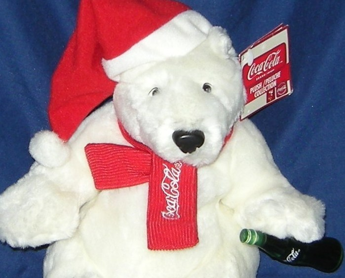 1/2 Price! Coke Coca Cola Plush Polar Bear Santa Claus NWT