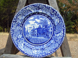 "Flow Blue Staffordshire R Marsellus Federal Hall Plate 10"" bz - $69.99"