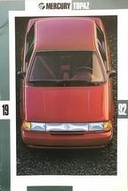 1992 Mercury TOPAZ brochure catalog US 92 GS LS LTS XR5 HUGE - $9.00