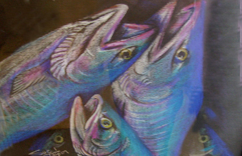 Primary image for Original Art drawing 16x20 matted color pencil abstract Tri Fish