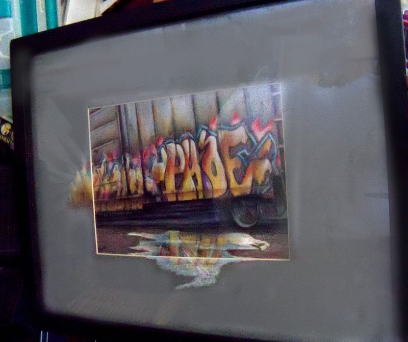 Original Art drawing 17x20  framed color pencil Railroad train Graffiti