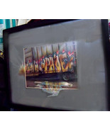 Original Art drawing 17x20  framed color pencil Railroad train Graffiti - $175.00