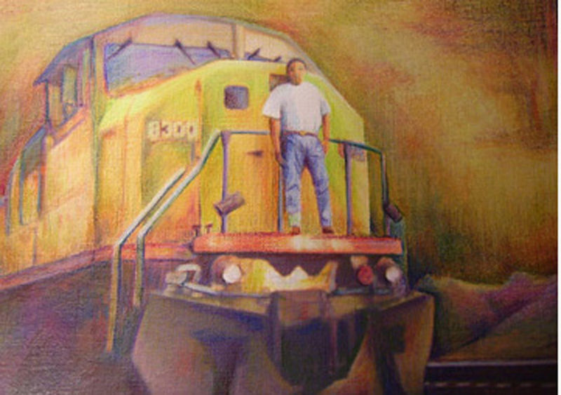 Primary image for Original Art drawing 17x20  framed color pencil UP Railroad train engineer