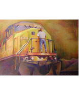 Original Art drawing 17x20  framed color pencil UP Railroad train engine... - $159.00