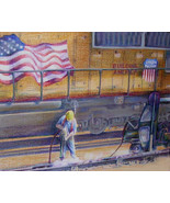 Original Art drawing 19x23 framed color pencil UP Railroad Building America - $175.00