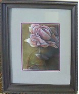Original Art painting 16x20 framed color pencil drawing rose - $89.00