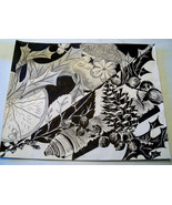 Original Art pen and ink drawing 16x20   abstract floral pine cones - $35.00