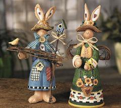 Boy & Girl Bunny Gardeners - $19.95