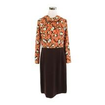 Brown khaki floral stretch vintage sheath dress 16 L - $39.99