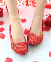 Women's Blush Wedding Shoes,Red Wedding Shoes,Red bridal shoes flats uk ... - £32.59 GBP