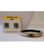 Vintage cobble stone magnetic bracelet clip earrings jewelry lot - $15.98