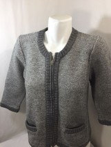 Ann Taylor Girls Gray Sweater Zip Up Scoop Neck  Extrafine Wool Warm Size L - €14,18 EUR