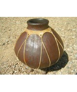 Mexican Pottery Jug on Stand wrapped in Rawhide 44 bz - $99.99