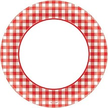 Amscan Disposable Classic Picnic Red Gingham Border Round Plates Party T... - £5.19 GBP