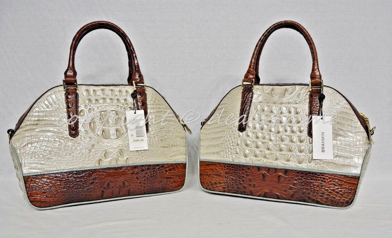 NWT Brahmin Hudson Satchel/Shoulder Bag in Linen Tri-Texture Beige, Pecan & Teal image 11