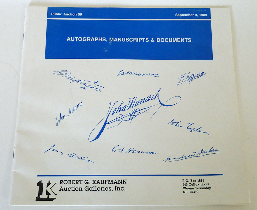 Primary image for Kaufmann auction catalog autographs manuscripts documents No 59 1989 vintage