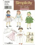 American Girl 18 in Doll Clothes Simplicity 3929 Pattern 1952 Archive - $6.93