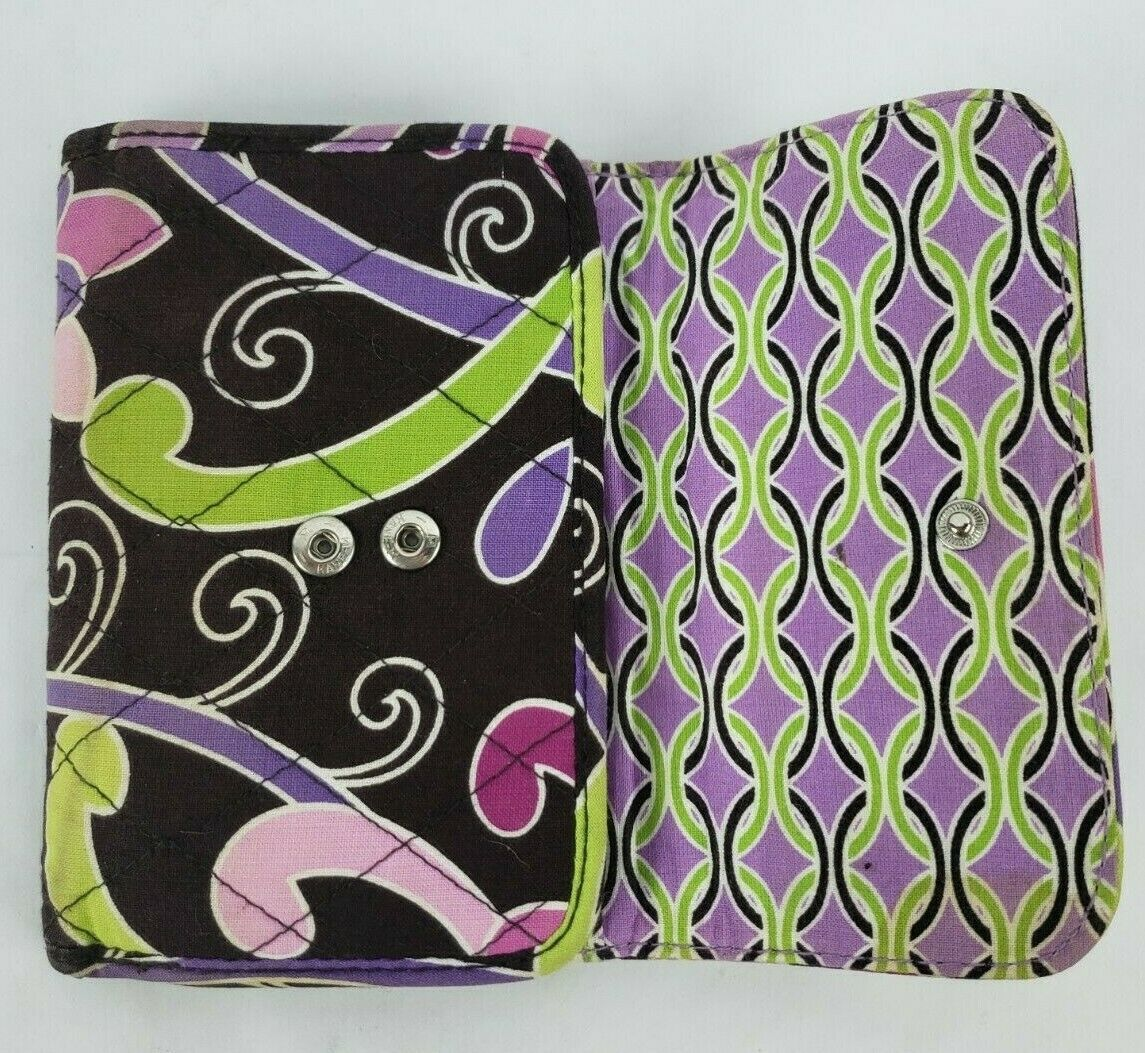 Vera Bradley Wallet Purple Punch Retired Pattern Tri Fold Zip Coin Pouch **