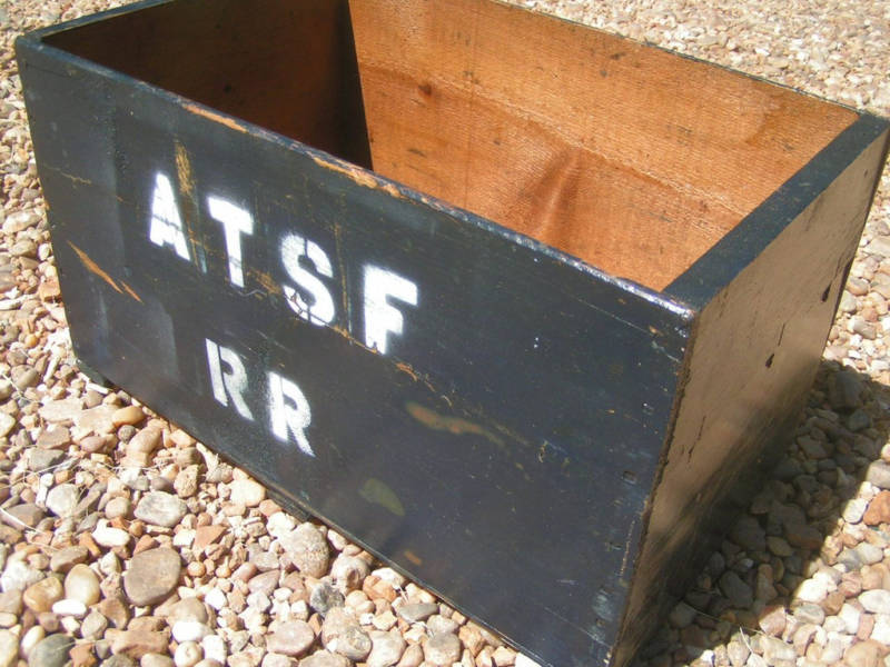 Primary image for Vintage WOODEN Box Crate Marked ATSF RR BZ