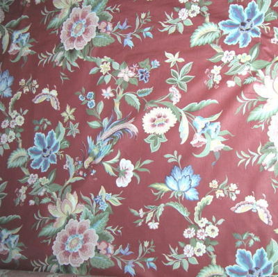 Vintage French Country Floral Cotton Fabric Retro Flora Fauna Fabric 9 yds