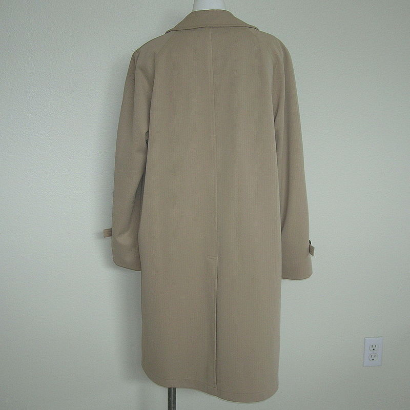 Mens Vintage John Weitz Trench Coat 40 Long Wool Lined Poly All Weather Coat