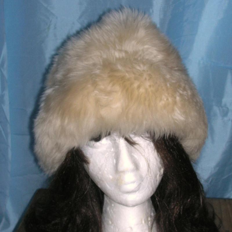 Vintage Shearling Lamb Fur Hat Cap Plush Long Cream Fur Hat Suede Lined