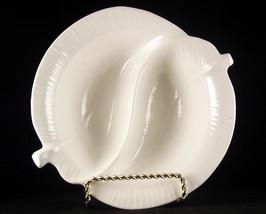 Trenton Pottery white leaf shaped divided servi... - $15.00
