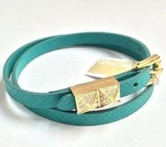 Michael Kors MKJ2795 Torquise Leather Double Wrap Pyramid Stud Bracelet ... - $49.75