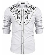 COOFANDY Mens Stylish Sequin Embroidered Long Sleeve Button Down Party S... - $35.81