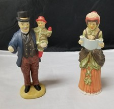 Ceramic Christmas Carolers: Set of 2, Man holding Child & Woman Singing,... - $19.34