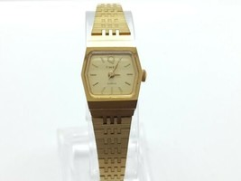 Vintage Timex Q Womens 18mm Watch, Gold Tone, New Battery, Running - $29.99
