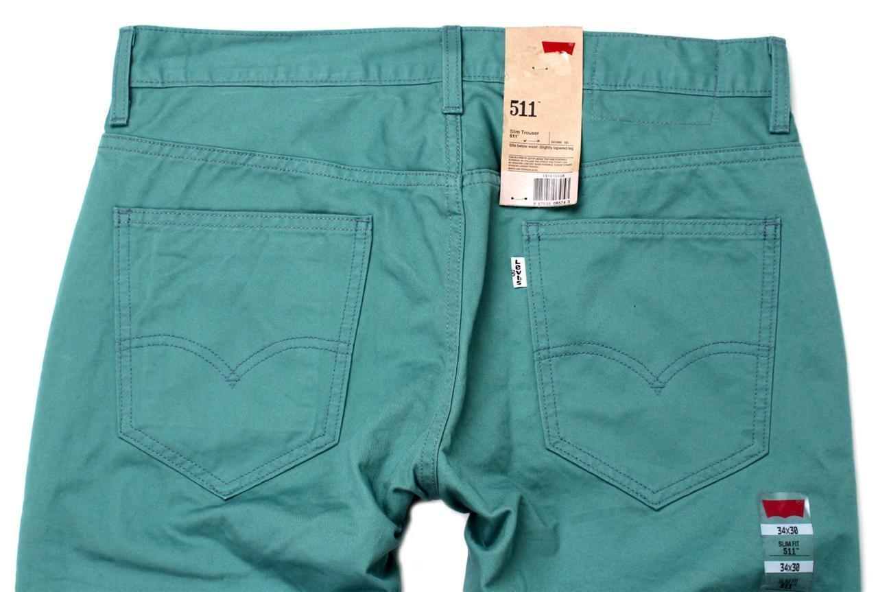 NEW LEVI'S 511 MEN DESIGNER DENIM SLIM FIT STRAIGHT LEG JEANS  GREEN 1315-10006