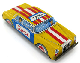 Vintage Yellow Taxi Friction Tinplate Retro Toy Car Japan 60's - $20.95