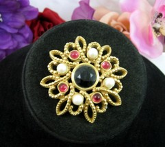 MONET Jeweled FLOWER STAR BROOCH Vintage Pin Faux Pearl Cabs Black Pink ... - $12.99