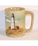 Vintage Embossed Lighthouse Sailing Boat Seagulls Birds Ocean Coffee Mug... - $11.87