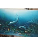 C Benolt Dolphin Fish Underwater Painting 3D Marine Life Seascape Vintag... - $90.76