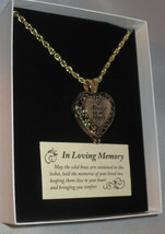 Memorial Locket Necklace Always in My Heart Antique Gold Ash Urn Inside New - $37.61