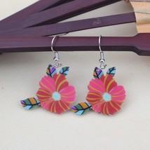 1 pair flower cute lovely printing drop earrings acrylic new design spri... - $9.19