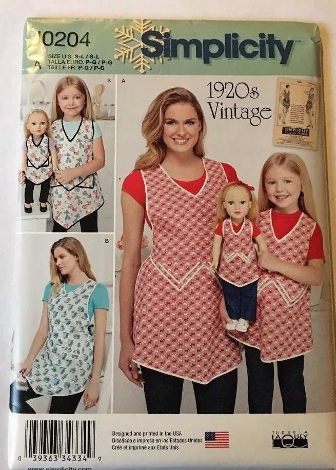 Primary image for Simplicity Apron Pattern RETRO 1920s Mother Daughter Doll Apron All Sizes