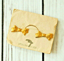new vintage Sterling Silver gold vermeil ribbon bow shape screw earrings - $19.79